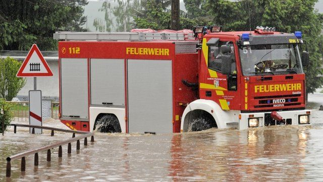 Fire engine submerged in central Germany