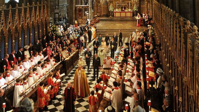 Queen and congregation in Westminster Abbey
