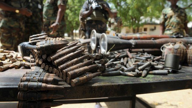 Arms and ammunitions recovered from Islamist insurgent during a clash with soldiers in the remote northeast town of Baga, Borno State