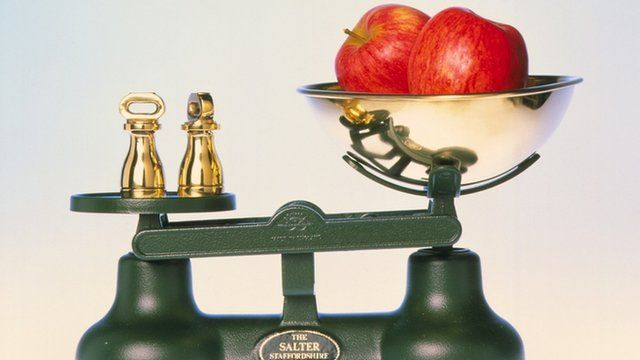 A traditional set of kitchen scales