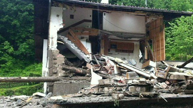 Home destroyed by floods in Austria
