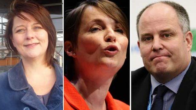 L-R: Leanne Wood, Kirsty Williams and Andrew RT Davies