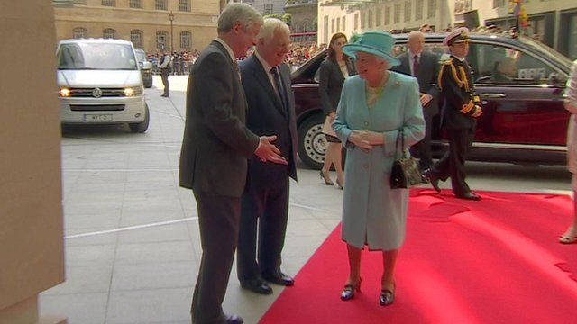 The Queen arrives at Broadcasting House and is greeted by BBC director general Tony Hall and BBC Trust chairman Lord Patten