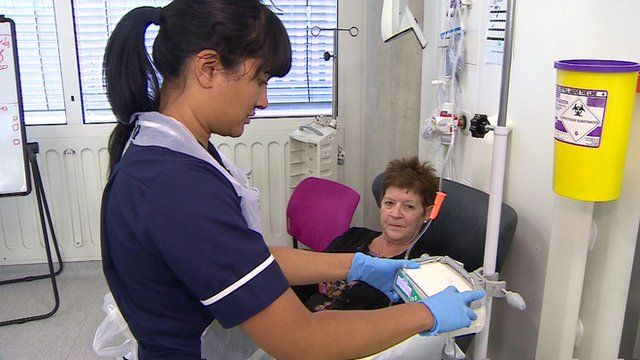 Cancer patient with nurse