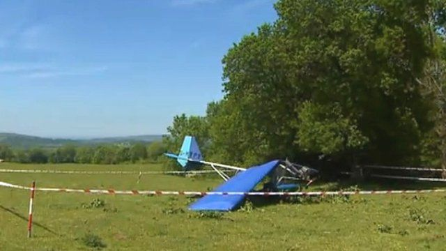 Crashed microlight plane near Cardigan