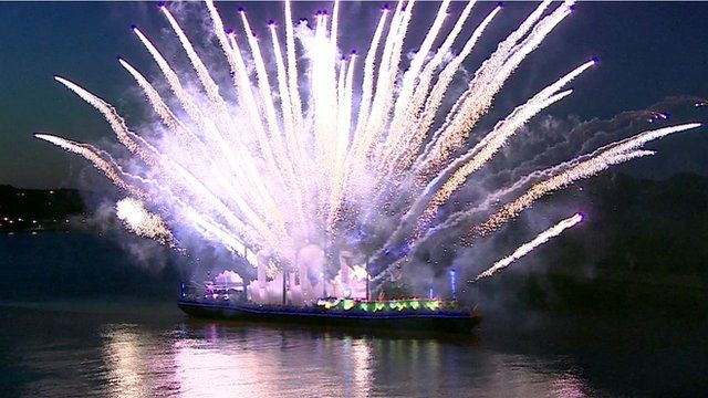 Fireworks on a boat on the river Foyle