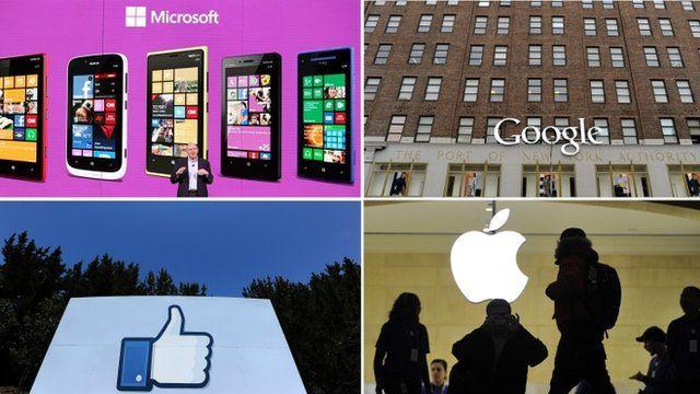Composite of Microsoft, Google, Facebook and Apple representative images