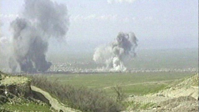 Smoke rises during the attack on Halabja