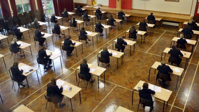 GCSE pupils sit exam