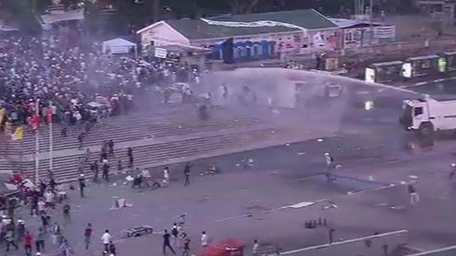 Water cannon firing on protesters in Taksim Square