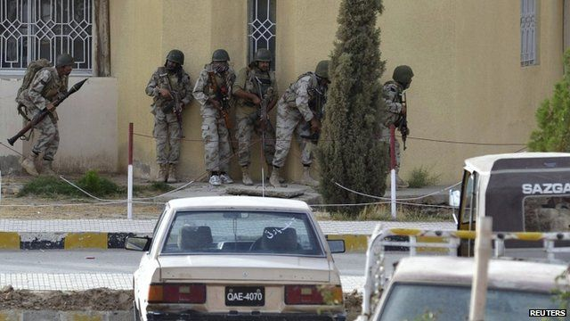 Security forces take their positions near the hospital