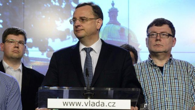 Petr Necas at briefing