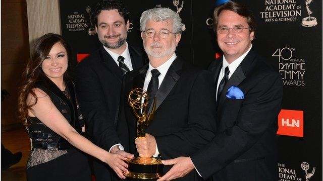 "Athena Portillo, Dave Filoni, George Lucas and Cary Silver pose with the Outstanding Special Class Animated Program award for ""Star Wars: The Clone Wars"""
