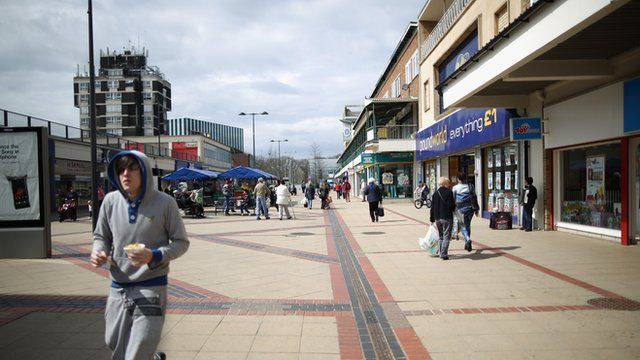 Shopping street in Corby