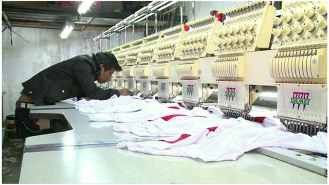 A Peruvian worker in a textile factory in Lima