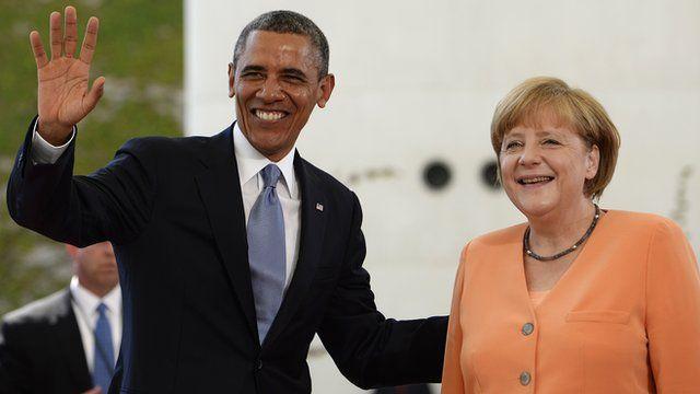Barack Obama and Angela Merkel, Berlin (19 June)