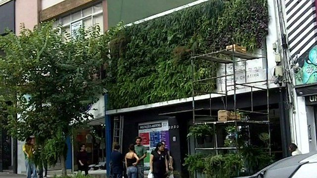 Plants growing up the side of a building in Sao Paulo