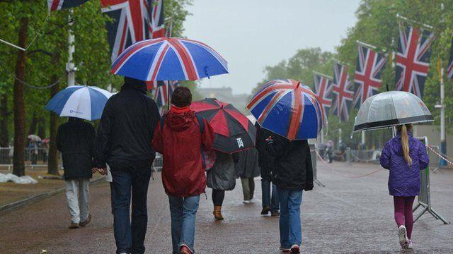 People walking in the rain with umbrellas.