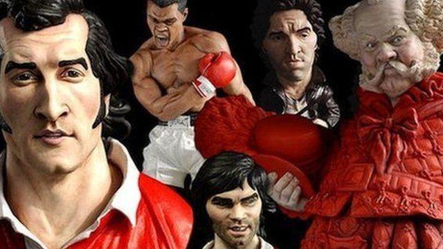 Groggs of Gareth Edwards, Muhammad Ali, Bruce Springsteen, Bryn Terfel as Falstaff, and George Best