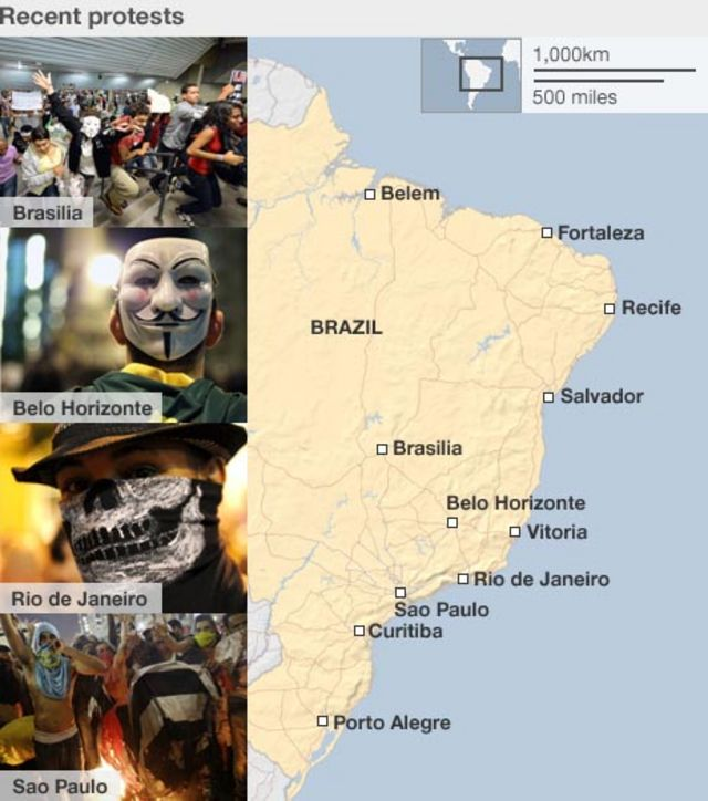 Brazil unrest: 'Million' join protests in 100 cities