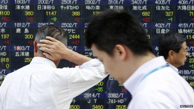 Stock market display in Tokyo - file image