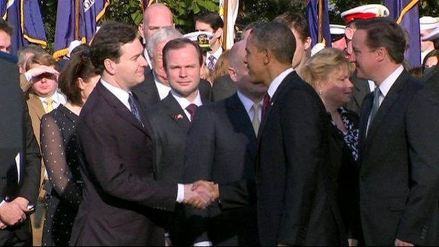 George Osborne and Barack Obama shaking hands
