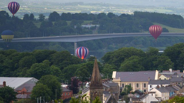 Balloons over city