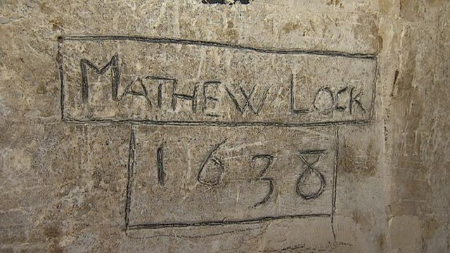 Matthew Locke's graffiti at Exeter Cathedral