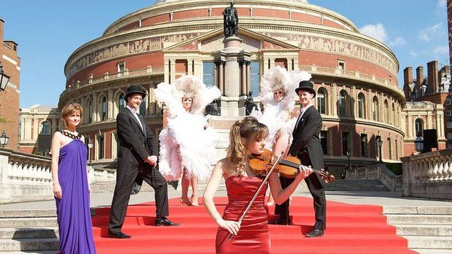 BBC presenter Katie Derham and Nicola Benedetti launch the BBC Proms 2010 at the Royal Albert Hall with a Broadway-inspired backdrop