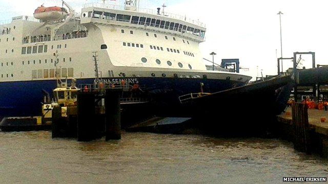 Ferry up against quayside