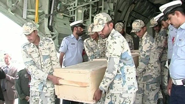 A coffin arrives in Pakistan capital