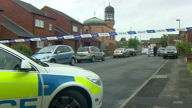 Police tape outside mosque in Walsall