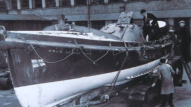 The damaged George Elmy lifeboat in 1962