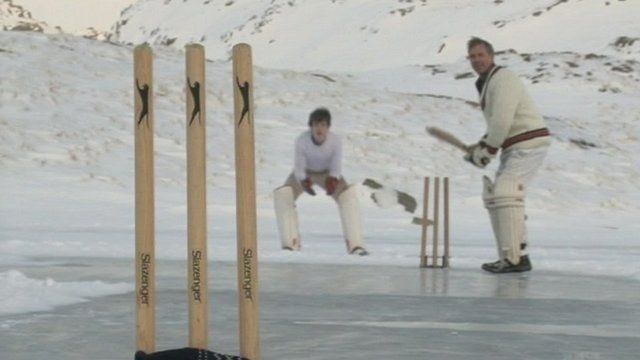 Cricket game in snow