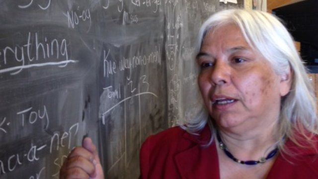 Member of Yurok tribe in classroom