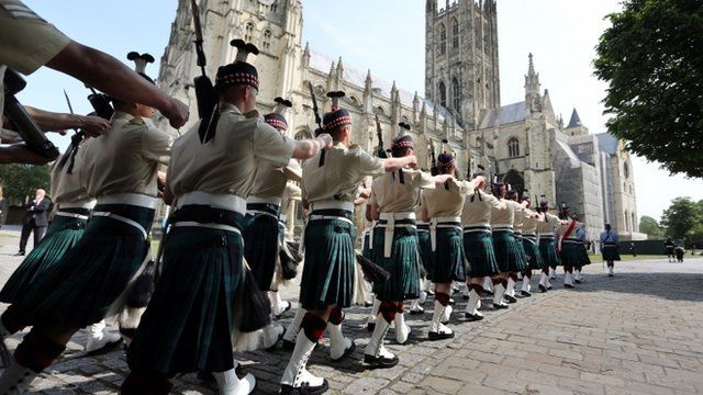 Soldiers marching past Canterbury Cathedral