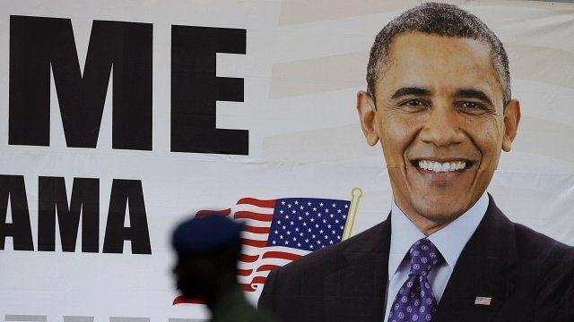 Banner welcoming President Barack Obama in Dakar, Senegal