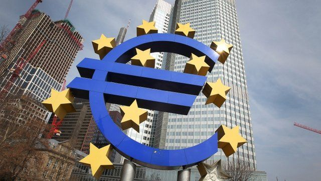 The Euro logo is seen in front of the European Central Bank in Frankfurt