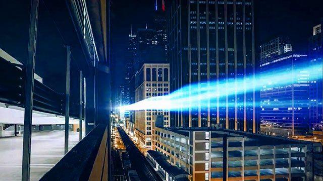 Light streaks through a city at night