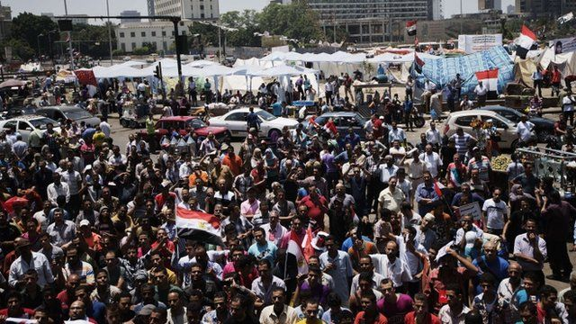"Egyptian opposition supporters gather for a demonstration against President Mohamed Morsi and the Muslim Brotherhood in Cairo""s landmark Tahrir Square on June 29, 2013"