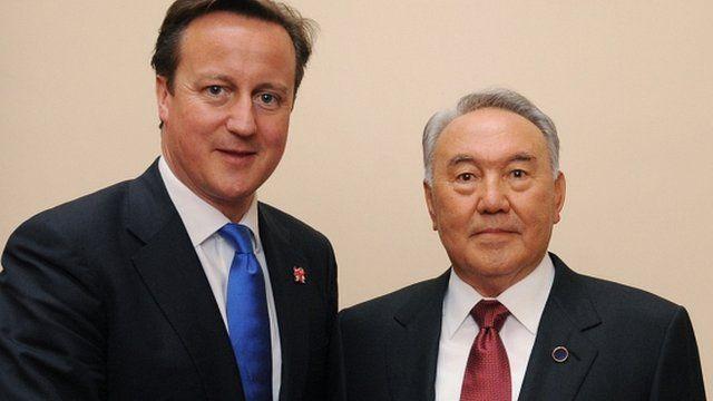 UK Prime Minister David Cameron with President of Kazakhstan Nursultan Nazarbayev