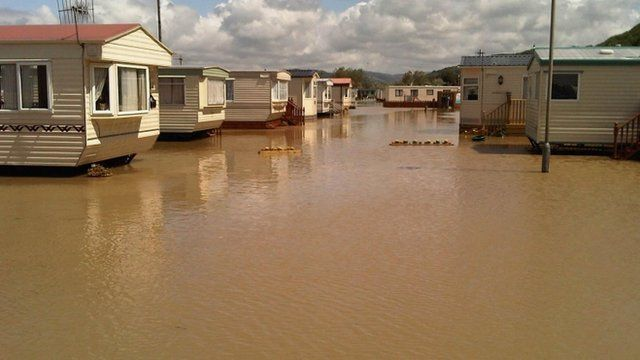 Holiday park near Aberystwyth which was flooded in June 2012