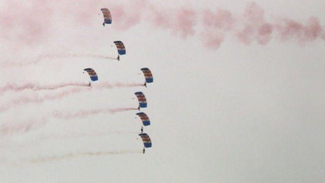The Royal Air Force Falcons Parachute Display team
