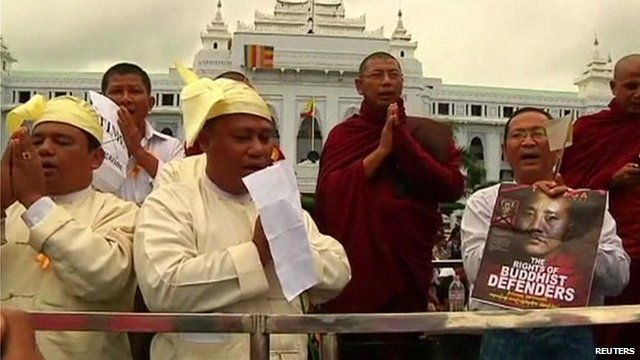 Buddhist monks protesting in central Yangon
