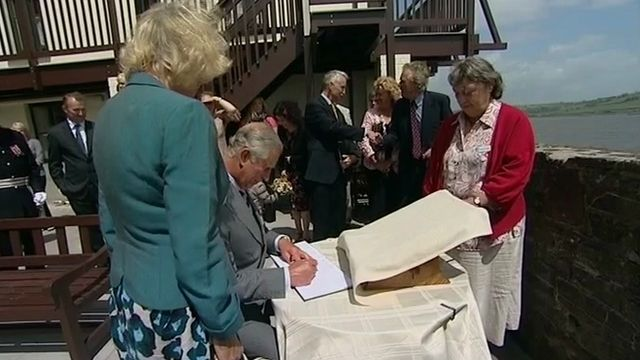Prince Charles and the Cornwall at the boathouse