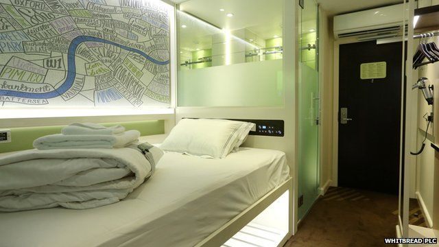 A compact hotel room