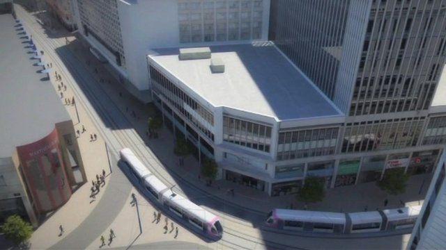 Artist's impression of new trams running in Birmingham