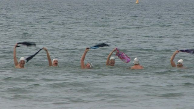 The Pink Ladies preparing for their English Channel relay swim