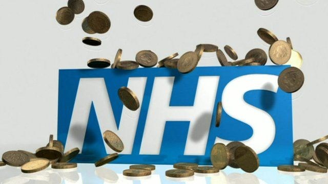 NHS logo with coins