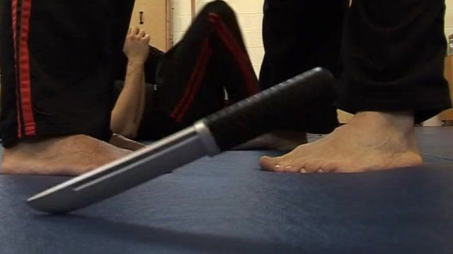 Knife hits ground in self-defence class